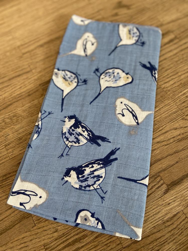 MusselinTuch - Vögel auf blau