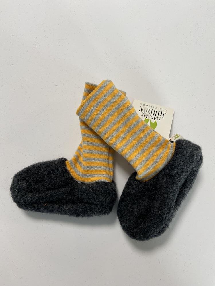 Wolle dunkelgrau / gelb - grau