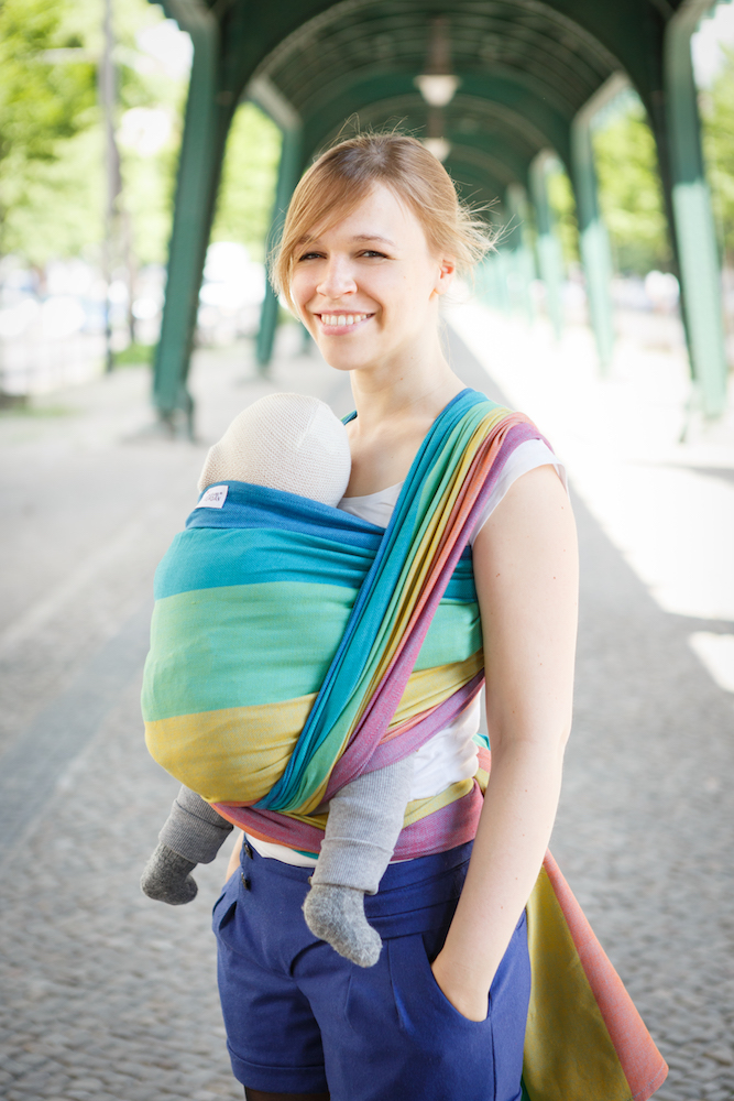 Girasol Exclusive Ringsling - Regenbogen Happy blau Kreuzköper